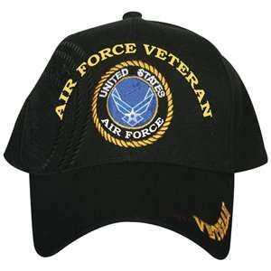 Black US Air Force Veteran Embroidered Ball Cap   Adjustable Hat