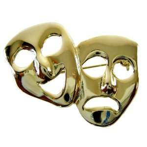 Comedy Tragedy Theatre Mask Gold Lapel Pin   Laugh Now Cry