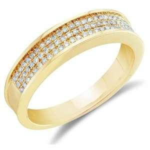 Size 4   10K Yellow Gold Diamond Three Rows MENS Wedding Band Ring   w