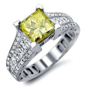 2.70ct Canary Yellow Princess Cut Diamond Engagement Ring