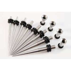 Micro Taper & Plug Set   8 Pc Stainless Steel Ear Tapers 14G 8G & 4 Pc