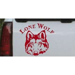 Lone Wolf Head Biker Car Window Wall Laptop Decal Sticker    Red 16in