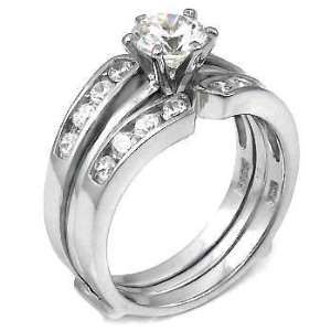 Eye Catching .925 Sterling Silver Wedding Ring Set, Crafted with Top