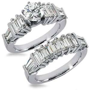 3.68 Carats Emerald Cut Diamond Engagement Ring Set