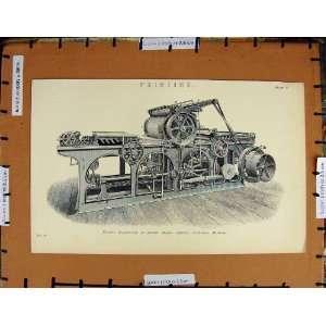 Antique Print C1800 1870 Printing Buxton Smith Machine