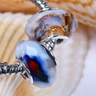 5x Multicolor Crystal Glass European Beads Fit Bracelet