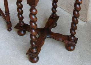 Antique French CARVED Oak Barley Twist Round Coffee End Table