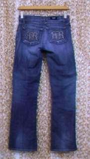 ROCK & REPUBLIC Womens Cute Silver Studded Logo Pocket Boot Cut Jeans