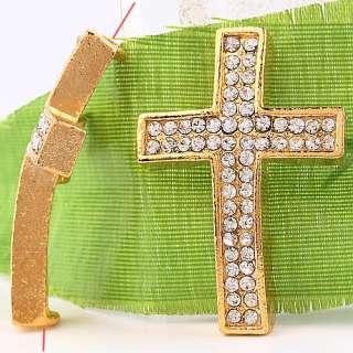 10pc Gold Plated Crystal Cross Bead Charm C0401 2