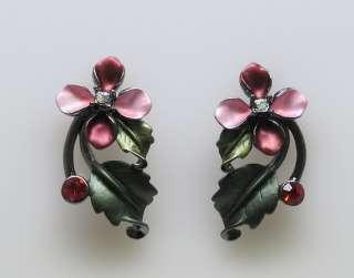 Red Enamel Flower Crystal Necklace Earrings Set s0461