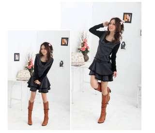 New Korean Women Long Sleeve Mini Dress With Belt 0792