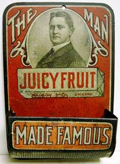 Circa 1905 Juicy Fruit Gum Tin Litho Match Holder