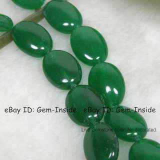 13x18mm oval Natural green Jade Loose beads strand 15