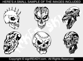 SKULLS CLIPART  VINYL CUTTER PLOTTER CLIP ART VECTOR CD