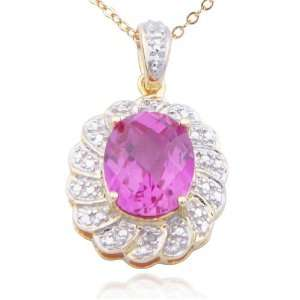 18k Yellow Gold Plated Sterling Silver Lab Created Pink Sapphire and