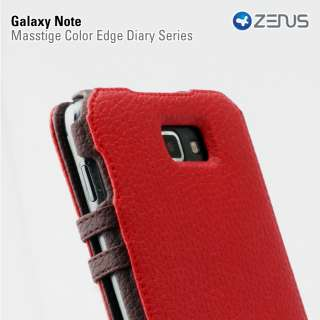 galaxy note n7000 att i717 diary case made by zenus two tone color red