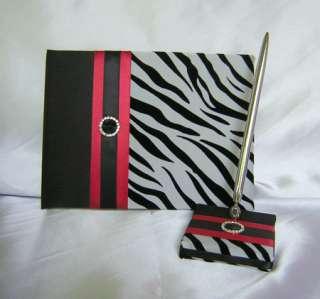 Black Red Zebra Print Flower Girl Basket Ring Pillow Guest Book Pen