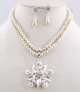 Imitate Pearl Rhinestone Pendant Necklace Earring Jewelry 1Set Wedding