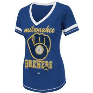 Milwaukee Brewers Royal Blue Womens Bling Beauty T Shirt