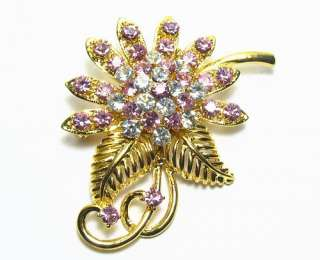 FLOWER GOLDEN AUSTRIAN RHINESTONE BROOCH PIN