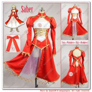 Fate stay night Saber Cosplay Costume Custom Any Size red Ver