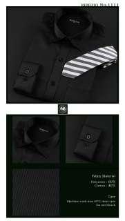 MENS BLACK STRIPES PATTERN CLASSIC DRESS SHIRTS.1111