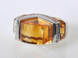 Gadi18K White Gold Citrine Pave Diamond Domed Ring