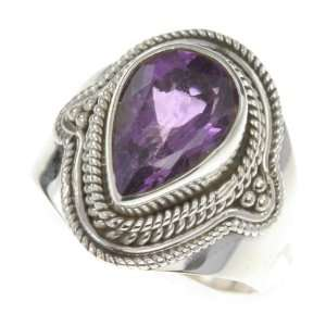 925 Sterling Silver NATURAL AMETHYST Ring, Size 8.5, 6.62g Jewelry
