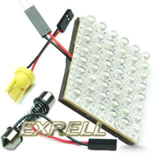 Car Interior 48 LED Bulb Lamp Light Panel White 12V + Adapters
