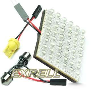 Car Interior 48 LED Bulb Lamp Light Panel White 12V + Adapters |