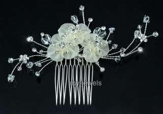 Bridal Wedding Ivory Satin Handmade Hair Comb T1376