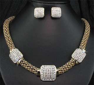Wedding Party Bridal Golden KGP Crystal Mesh Necklace Earrings Jewelry