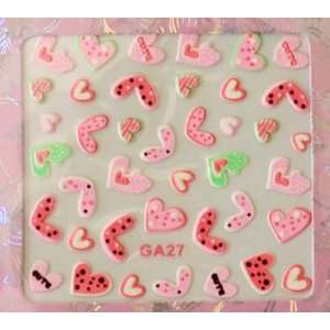 Cute PINK Hearts Colorful Nail Art Sticker Beauty