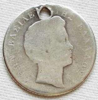 Kingdom Greece silver coin 1 Drachma 1834 1833 Otto I