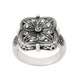 Sterling Silver Marcasite Flower Design Ring, Size 9