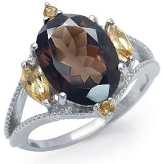 21ct. Real Smoky Quartz & Citrine White Gold Plated 925 Sterling