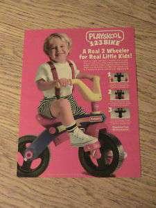 1992 PLAYSKOOL ADVERTISEMENT 2 WHEELER BIKE AD BOY PLAY