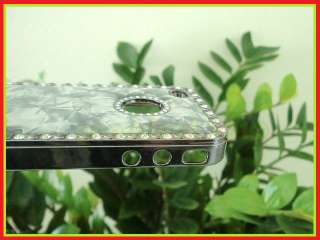 For iPhone 4 4S Luxury Bling Diamond Marble Chrome Hard Case Cover