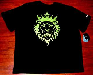 NIKE LEBRON JAMES LION LOGO T SHIRT BLACK VOLT NEW MENS 4XL DRI FIT