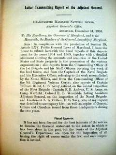 1906 REPORT OF ADJUTANT GENERAL OF MARYLAND 1904 1905