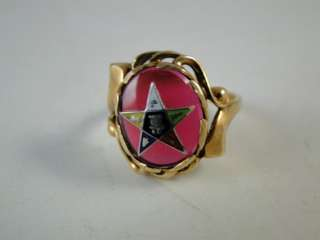 Vintage Order of Eastern Star 10K Yellow Gold Cocktail Ladies Ring