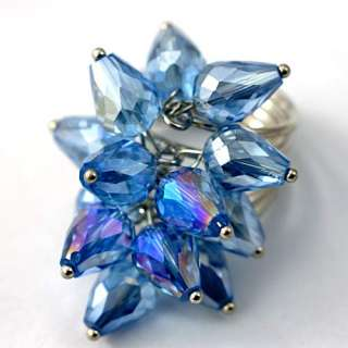 d8419 Size 7 8 Ladys Azure Teardrop Crystal Glass Beads Cooktail Ring