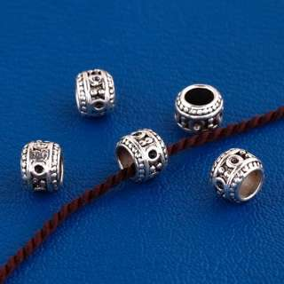 25X Tibetan Silver Tribal Big Hole Charm Beads Kf408