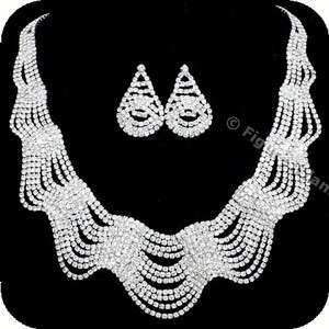 Rhinestone Crystal Bib Drape Bridal Wedding Necklace Earring Set 290