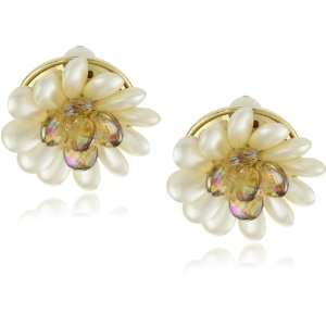 Carolee Late Bloomer Gold Tone White Pearl Color Flower