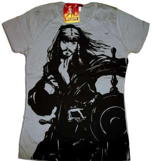 PIRATES OF THE CARIBBEAN AT WORLDS END RETRO GRAY TEE SHIRT WOMENS