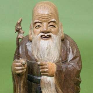 CARVED Japanese Buddhist Buddha ROJIN God Wooden Statue