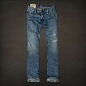 Huntington Low Rise Slim Straight Destroyed Mens Jeans 32x32 NEW