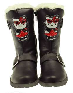 GIRLS HELLO KITTY WINTER WOOLIES BLACK FUR BOOTS SIZE 8,9,10,11,12,13