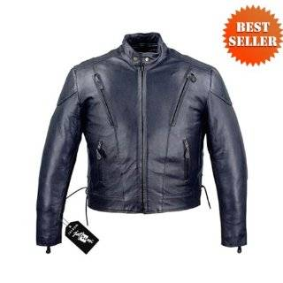 Jackets   Tall Size Mens Vented Leather Motorcycle Jackets MJ470 Tall